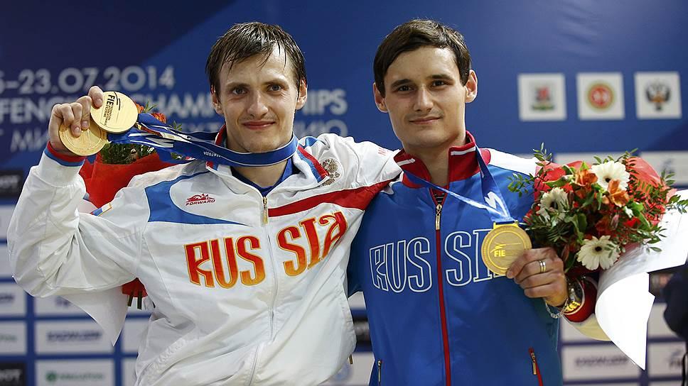Алексей Черемисинов (слева) и Тимур Сафин завоевали соответственно золото и бронзу чемпионата мира в соревнованиях рапиристов