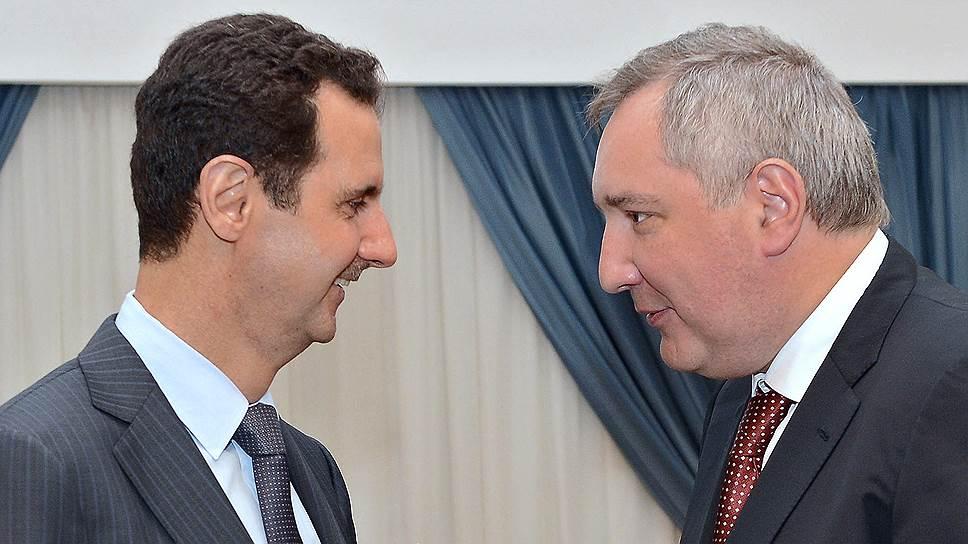 Вопрос о выделении правительству Башара Асада (слева) госкредита в $1 млрд будет решен с учетом позиции вице-премьера РФ Дмитрия Рогозина (справа)