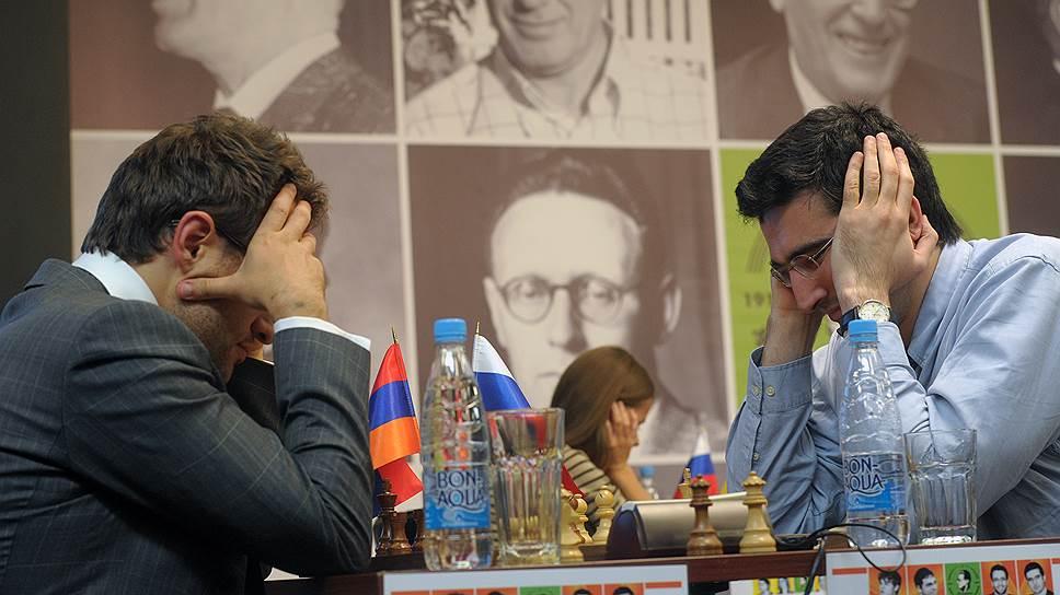 Самыми титулованными участниками мемориала Тиграна Петросяна станут 14-й чемпион мира Владимир Крамник (справа) и трехкратный победитель Всемирных шахматных олимпиад Левон Аронян