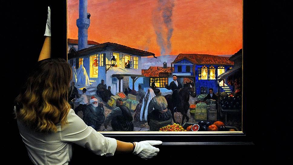 Самым дорогим произведением на вечерних торгах Sotheby`s стало полотно Бориса Кустодиева «Бахчисарай», проданное за £1,3 млн
