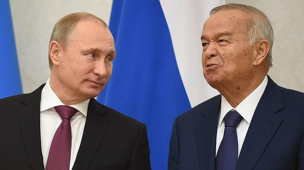 Президент Узбекистана Ислам Каримов (справа) был в числе тех немногих собеседников Владимира Путина, кто не ощущал себя ответственным за рост цен на бензин в России