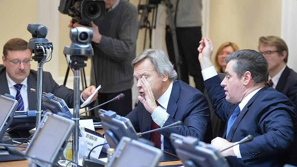 Константин Косачев, Алексей Пушков и Леонид Слуцкий (слева направо) договорились пресекать развитие «антироссийкой риторики» в ПАСЕ