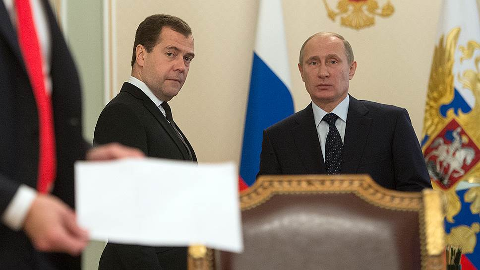 Председатель правительства России Дмитрий Медведев и президент России Владимир Путин