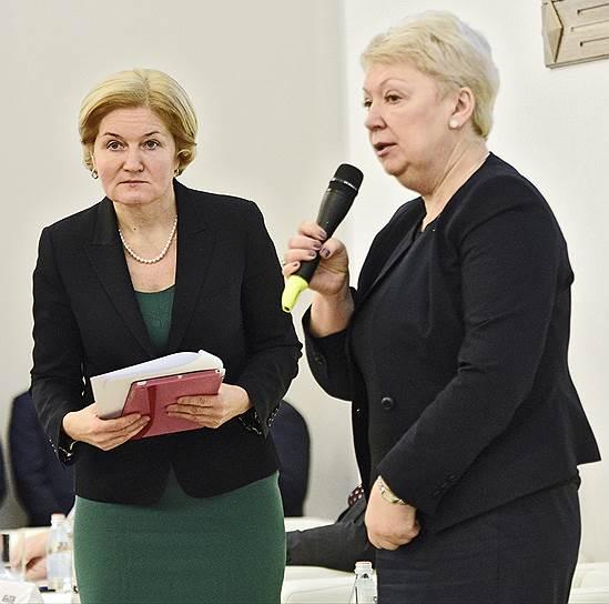 Ради выполнения майских указов президента вице-премьер Ольга Голодец (слева) призвала главу Минобрнауки Ольгу Васильеву в 2017 году организовать работу всех образовательных организаций без технических сбоев, выходных и праздников