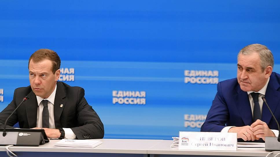 На выборах в региональные парламенты «Единая Россия» (слева председатель партии Дмитрий Медведев, справа секретарь генсовета партии Сергей Неверов) вновь рассчитывает на участие глав регионов