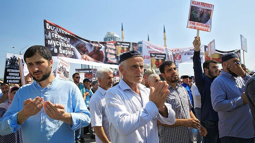 В центре Грозного прошла массовая акция против преследования мусульман в Мьянме