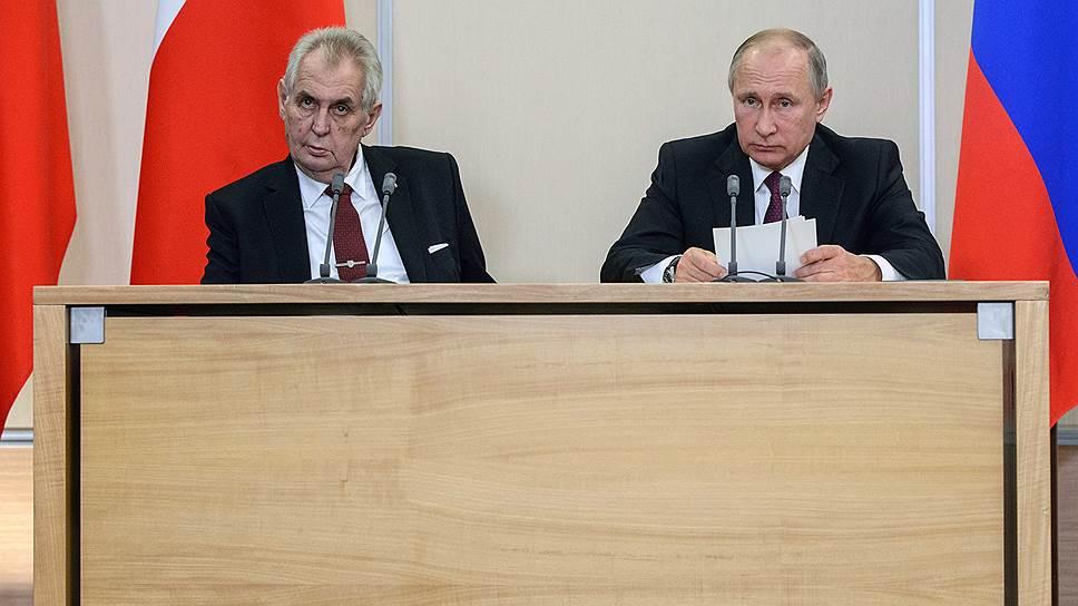 Президент Чехии Милош Земан на встрече с президентом Владимиром Путиным излучал удивительную крестьянскую хитрость