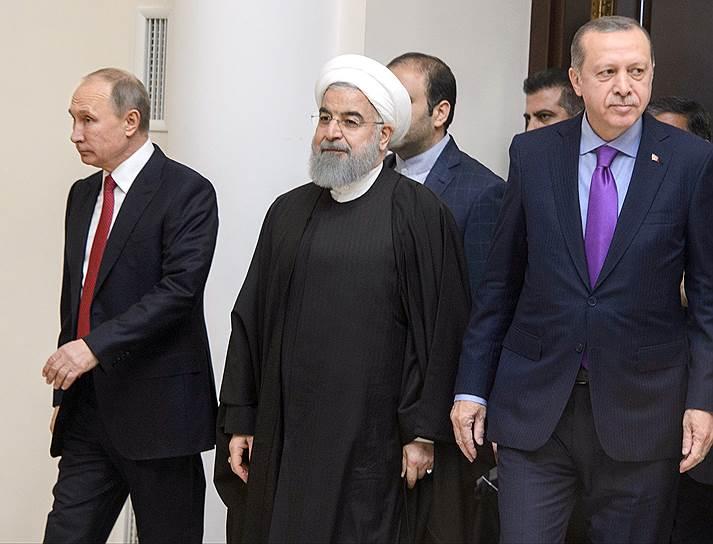 После переговоров выяснилось, что президенты России, Ирана и Турции не только глядят, но и думают в разные стороны