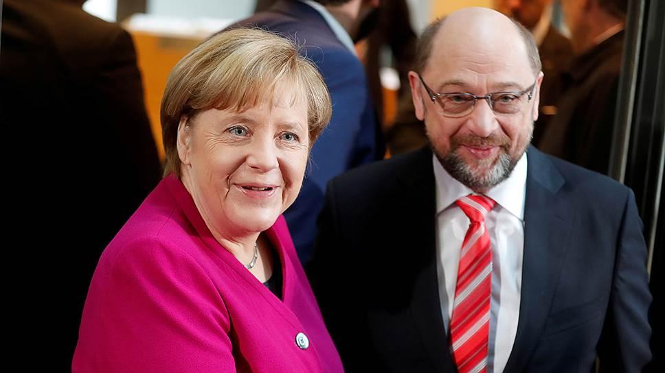 Лидер ХДС Ангела Меркель и лидер СДПГ Мартин Шульц