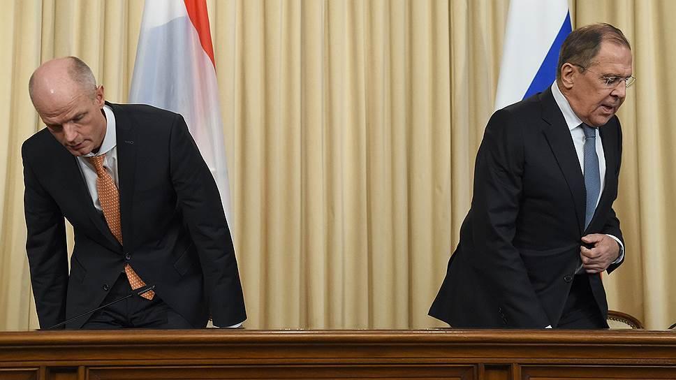 Министры иностранных дел Нидерландов и России Степ Блок (слева) и Сергей Лавров