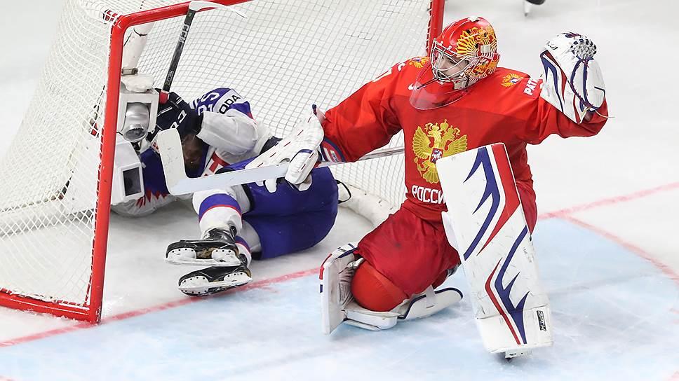На чемпионате мира голкипер сборной России Игорь Шестеркин отстоял на ноль семь периодов