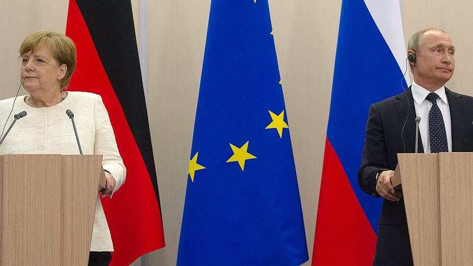 На пресс-конференции канцлер Германии Ангела Меркель и президент России Владимир Путин временами, казалось, забывали друг о друге