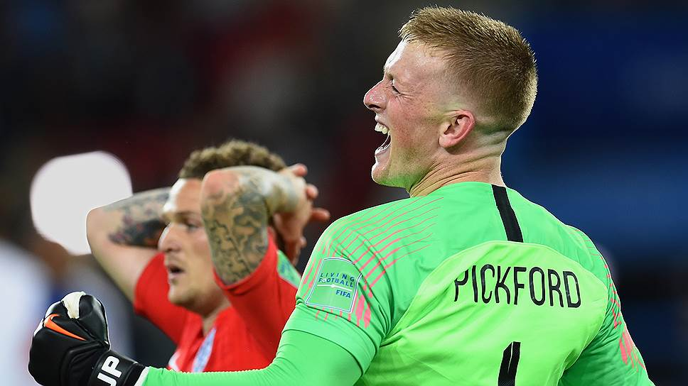 Голкипер сборной Англии Джордан Пикфорд отразил пенальти в исполнении Карлоса Бакки и вывел свою команду в четвертьфинал