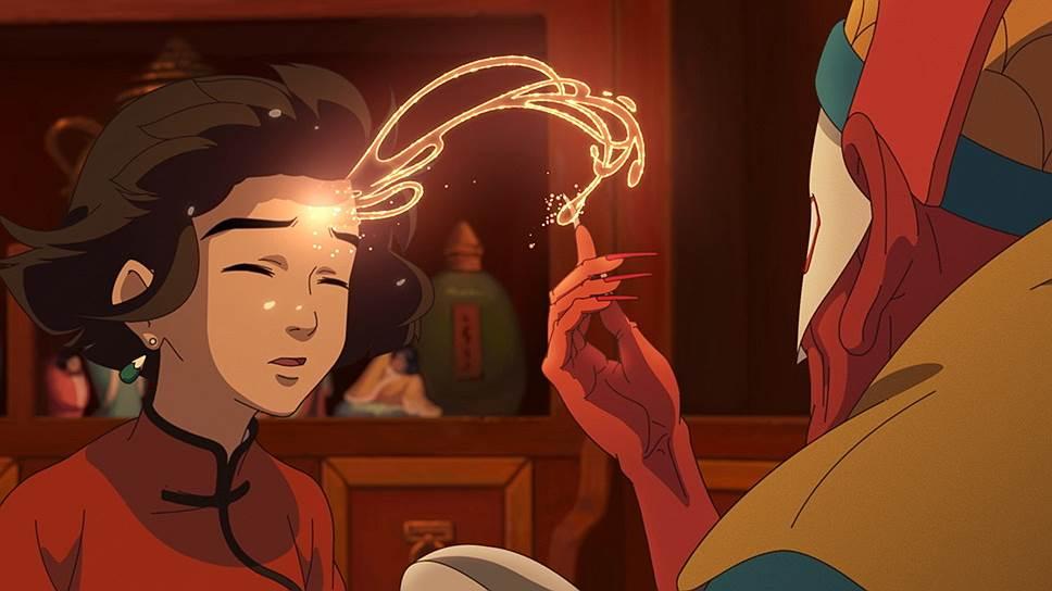 При всей своеобычности китайских мультипликаторов «По ту сторону океана» отчетливо напоминает фильмы Хаяо Миядзаки
