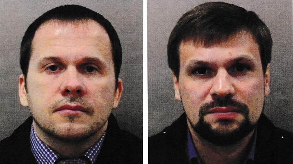 Британские правоохранительные органы считают, что имена подозреваемых — Александр Петров и Руслан Боширов — вымышленные, а бланки паспортов, на которых они были напечатаны, настоящие
