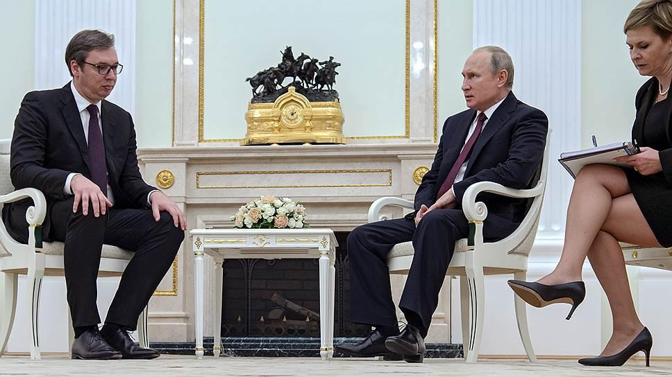 Как президент России Владимир Путин принял в Москве президента Сербии Александра Вучича