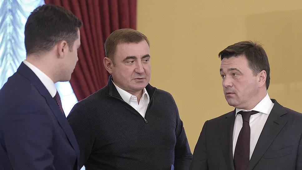 Слева направо: губернатор Калининградской области Антон Алиханов, губернатор Тульской области Алексей Дюмин и губернатор Московской области Андрей Воробьев