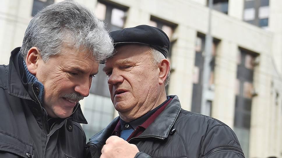 Геннадий Зюганов борется за мандат Павла Грудинина (слева) на улице и в судах