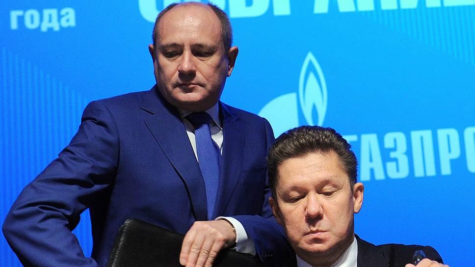 Глава «Газпрома» Алексей Миллер расширил сферу ответственности зампреда правления Виталия Маркелова (слева)