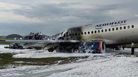 Superjet сгорел при посадке  / Вынужденное возвращение в аэропорт привело к авиакатастрофе с человеческими жертвами