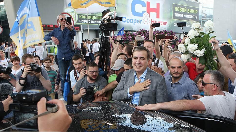 Бывший президент Грузии и бывший губернатор Одесской области Михаил Саакашвили в аэропорту Борисполь
