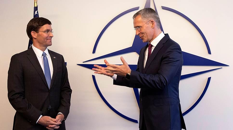 И. о. главы Пентагона Марк Эспер и генсек НАТО Йенс Столтенберг