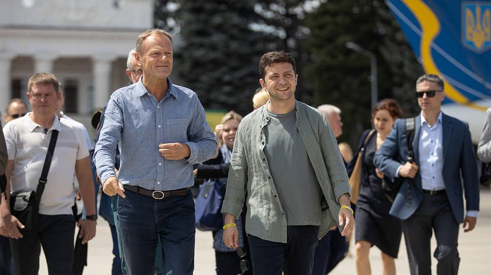 Председатель Европейского совета Дональд Туск и президент Украины Владимир Зеленский