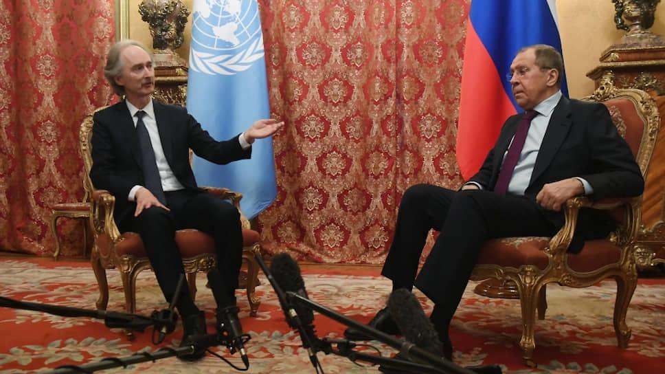 Cпецпосланник генсекретаря ООН по Сирии Гейр Педерсен и министр иностранных дел РФ Сергей Лавров