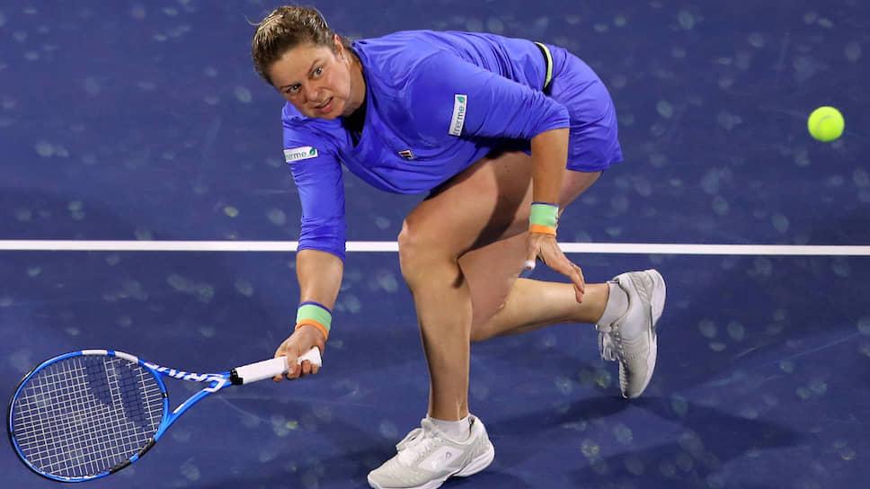 Сыграв свой первый матч с 2012 года, 36-летняя Ким Клейстерс (на фото) во втором сете неплохо смотрелась на фоне финалистки Australian Open Гарбинье Мугурусы