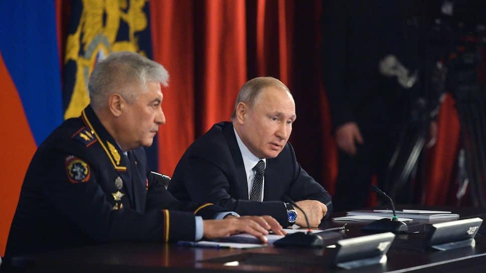 Министр внутренних дел России Владимир Колокольцев и президент России Владимир Путин