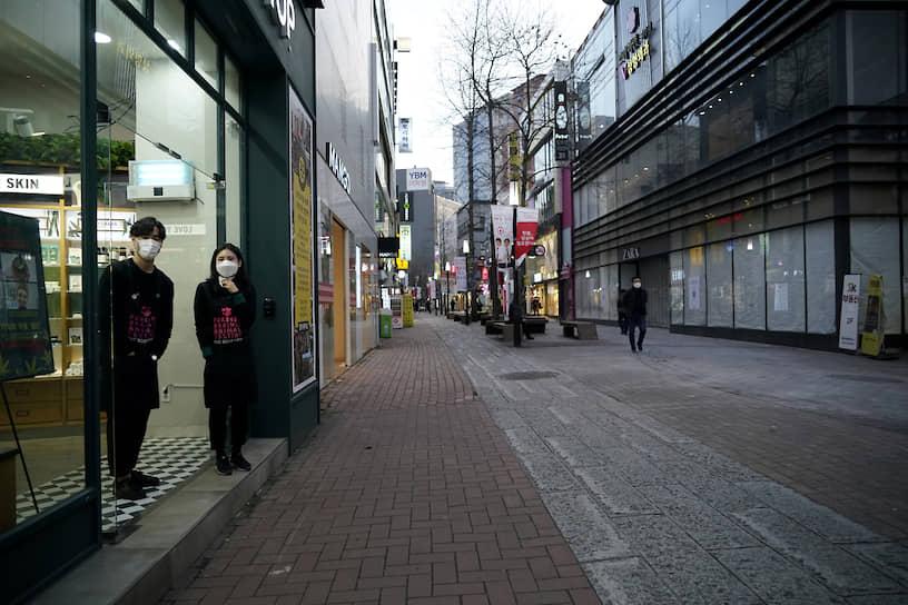 Торговая улица в центре южнокорейского города Тэгу.