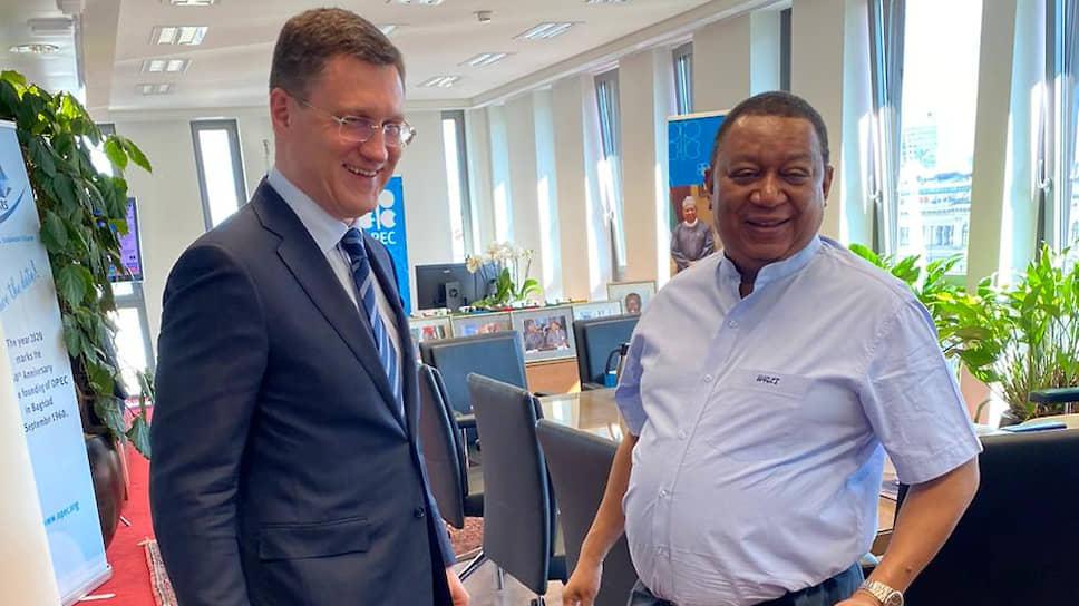 Глава Минэнерго РФ Александр Новак (слева) и генсек ОПЕК Мохаммед Баркиндо