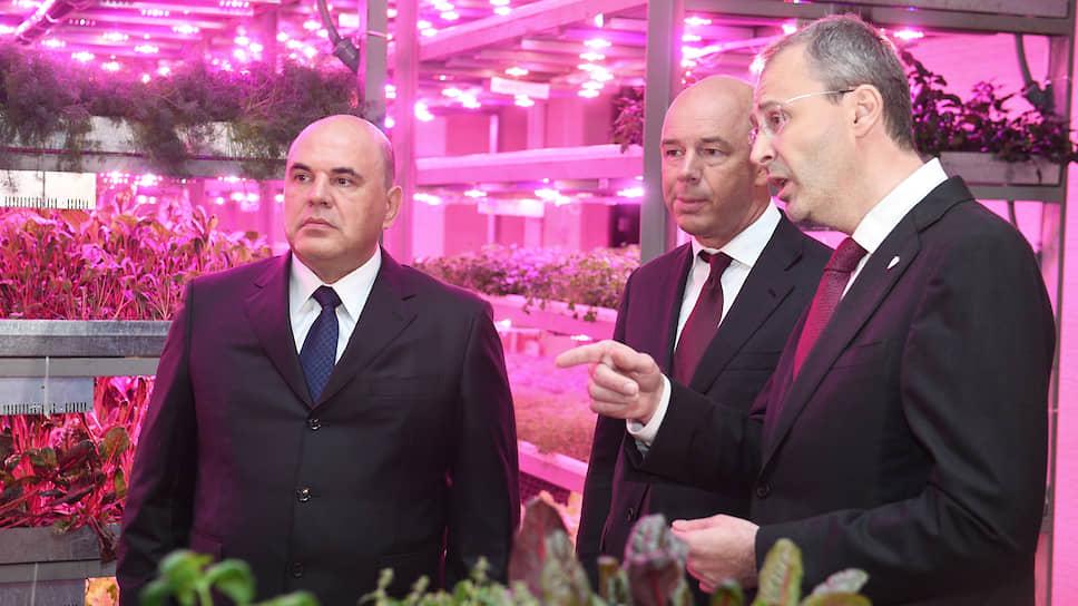 Слева направо: председатель правительства России Михаил Мишустин, министр финансов России Антон Силуанов и губернатор Чукотского автономного округа Роман Копин