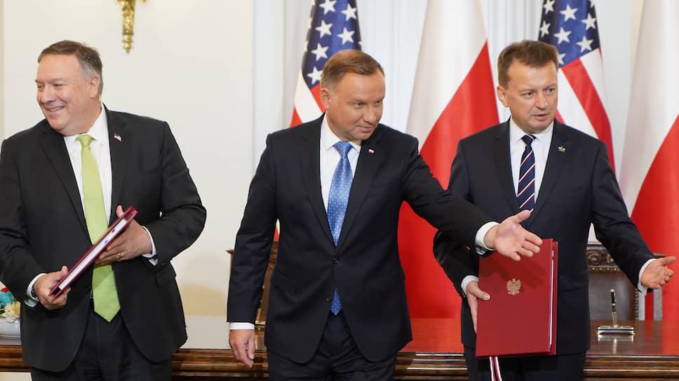 Слева направо: Майк Помпео, президент Польши Анджей Дуда, министр национальный обороны Польши Мариуш Блащак
