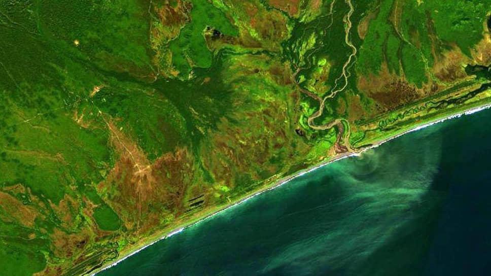 Загрязнение Тихого океана у берегов Камчатки со спутника