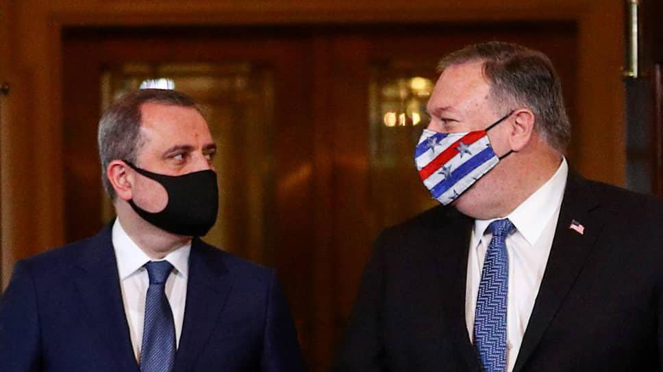 Глава МИД Азербайджана Джейхун Байрамов с госсекретарем США Майком Помпео