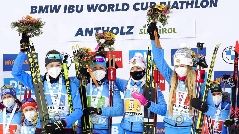 Первая в сезоне победа российской женской биатлонной команды была одержана благодаря классному выступлению абсолютно всех спортсменок из эстафетной четверки