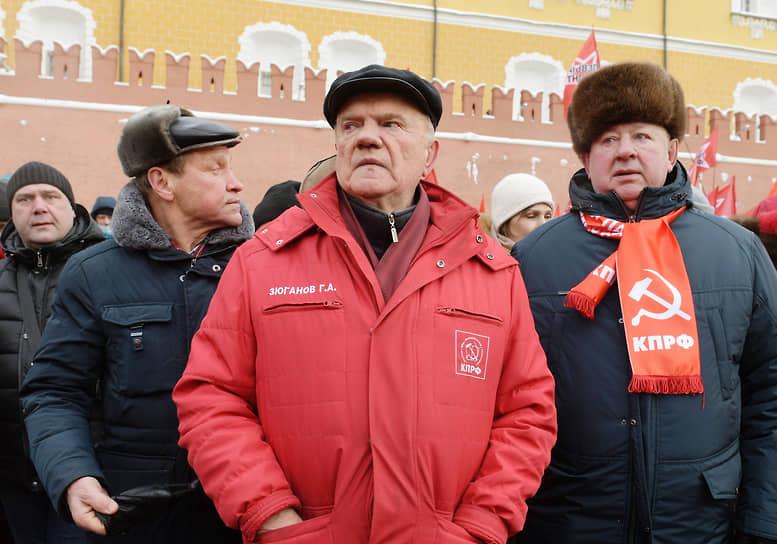 Лидер КПРФ Геннадий Зюганов и заместитель председателя ЦК КПРФ Владимир Кашин