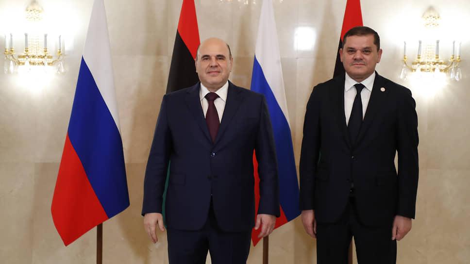Премьер России Михаил Мишустин (слева) и премьер Ливии Абдельхамид Дбейба