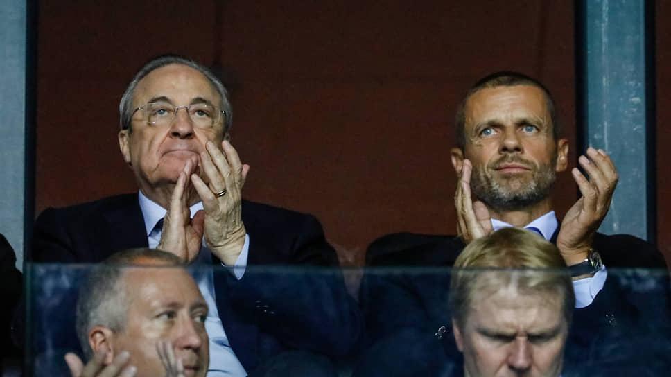 Президент Суперлиги Флорентино Перес (слева) и президент UEFA Александр Чеферин, кажется, готовы идти до конца в борьбе за свои турниры