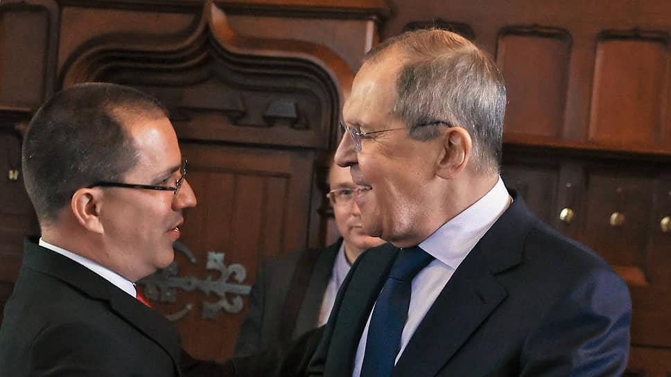 Министр иностранных дел Венесуэлы Хорхе Арреас (слева) и министр иностранных дел России Сергей Лавров