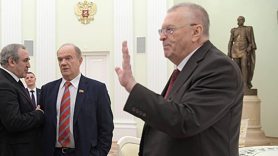 Слева направо: Сергей Неверов, Геннадий Зюганов и Владимир Жириновский