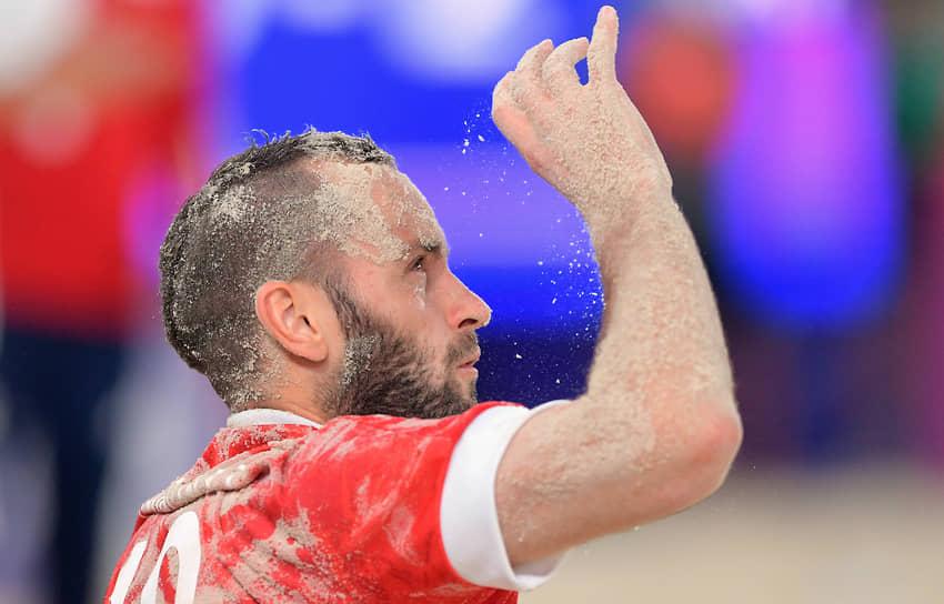 Российский игрок Артур Папоротный во время матча