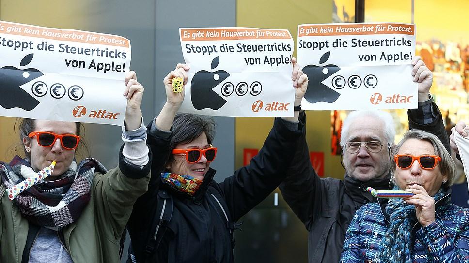 «Остановить трюки с налогами!» — этот лозунг в свой адрес могут услышать в Германии и власть, и частная компания, как Apple на этой демонстрации во Франкфурте