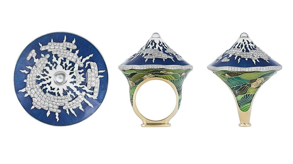 Кольцо Fujiyama, золото, эмаль, бриллианты, лунный камень, Ilgiz F