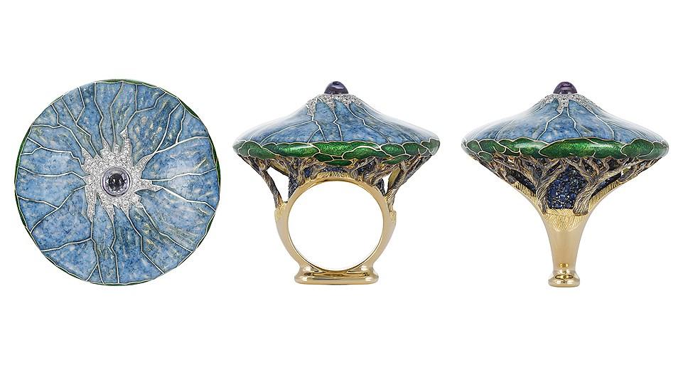 Кольцо Kilimajaro, золото, эмаль, бриллианты, сапфиры, танзаниты, Ilgiz F