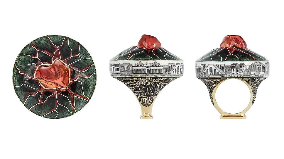 Кольцо Vezuvio, золото, эмаль, опал, Ilgiz F