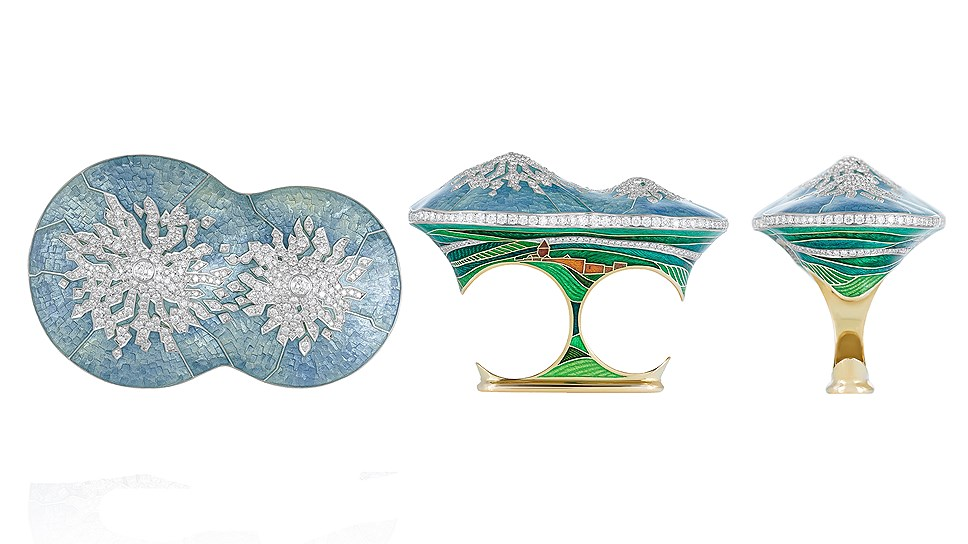 Кольцо Ararat, золото, эмаль, бриллианты, Ilgiz F