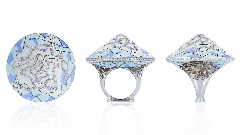 Кольцо Himalayas, золото, эмаль, бриллианты, Ilgiz F
