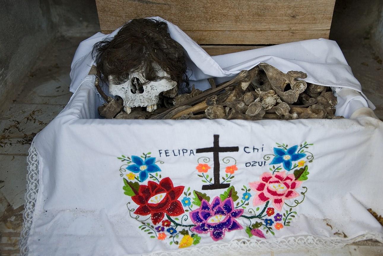 Кости, выставленные на обозрение для почитания в рамках празднования Дня смерти, Помуч, Мексика